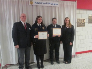 Pictured are Firelands Principal-Mr. Reighley, Shelby Balint, Josh Ward and FFA Advisor- Shanna Finnegan.