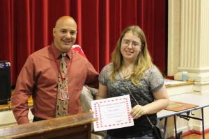 Perfect Attendance Award presented to Ariel Langer