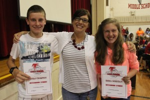 Nathan Thompson, Ms. Sullivan and Emma Sherban