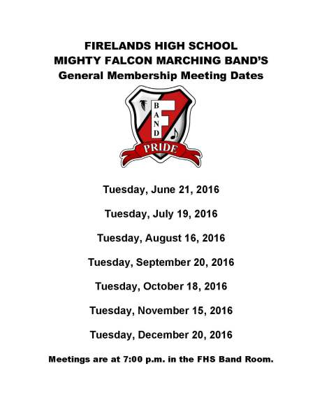 Meeting dates ad 2016