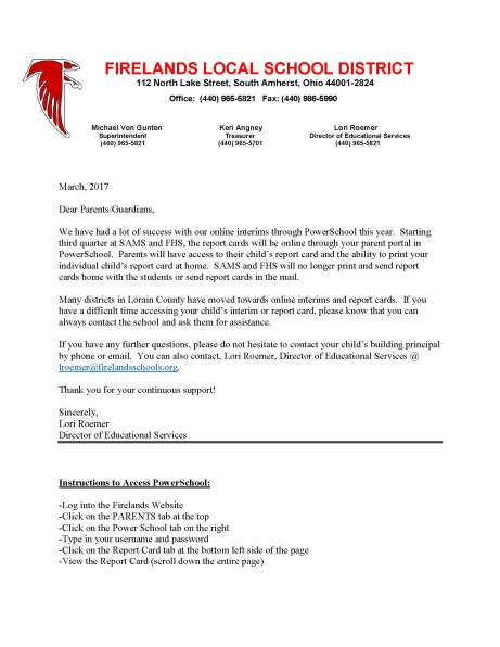 online report card letter