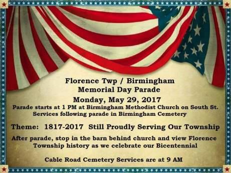 Florence bicentennial day celebration 2017