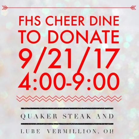 FHS Cheer Dine Donate 9 2017