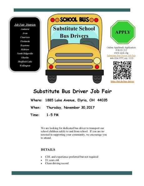 Substitute bus drivers flier
