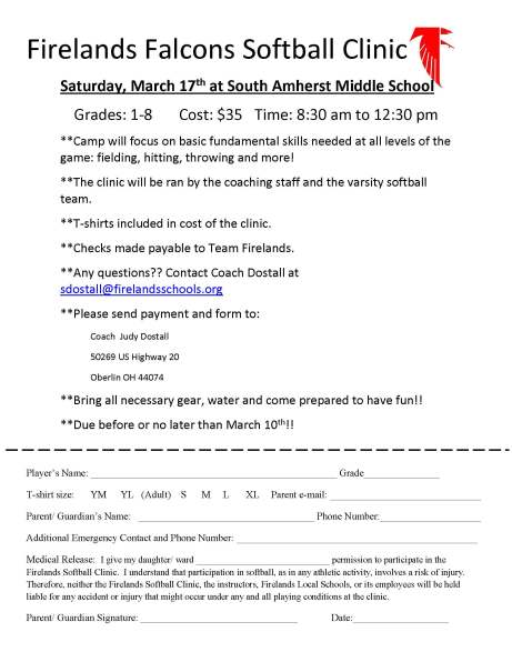 Falcon Softball Clinic 2018