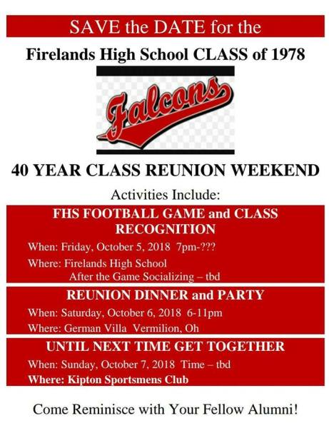 Class of 1978 reunion flyer