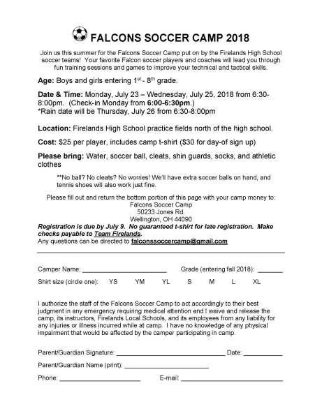 FHSGS Youth Camp Flyer 1718