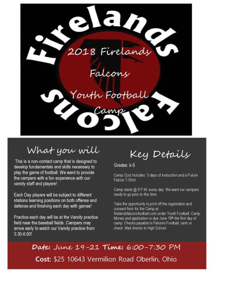 Football youth camp flyer 2018