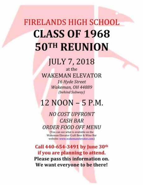 Class of 1968 reunion info