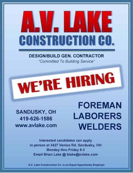 AV Lake Construction hiring
