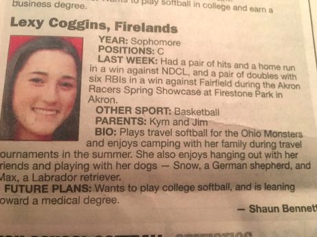 Coggins Player of the week