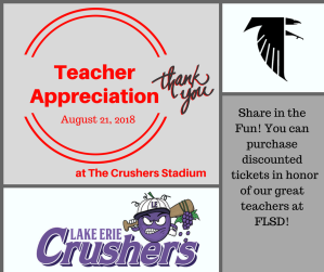 Teacher Appreciaion Night at Crushers Stadium
