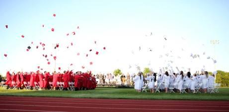 2018 graduation caps flying