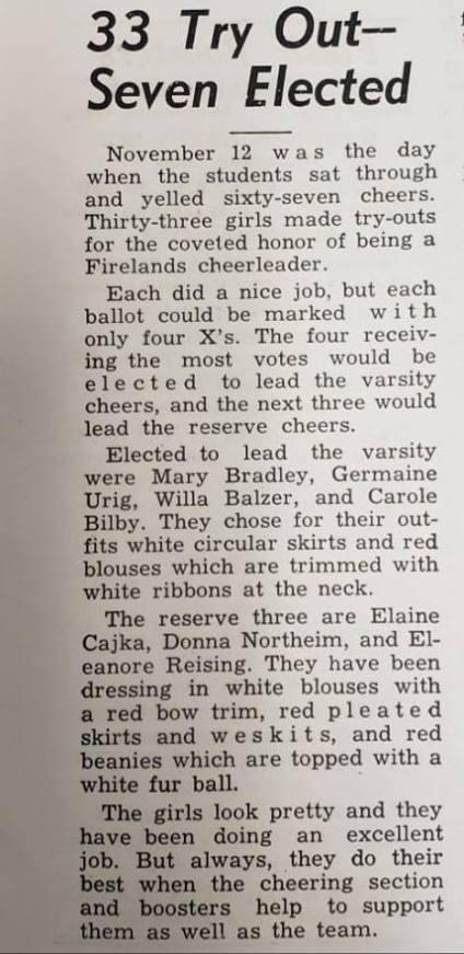 FHS Cheerleaders 1954