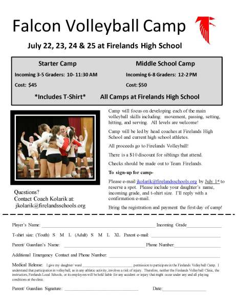 Falcon Volleyball Camp 2019
