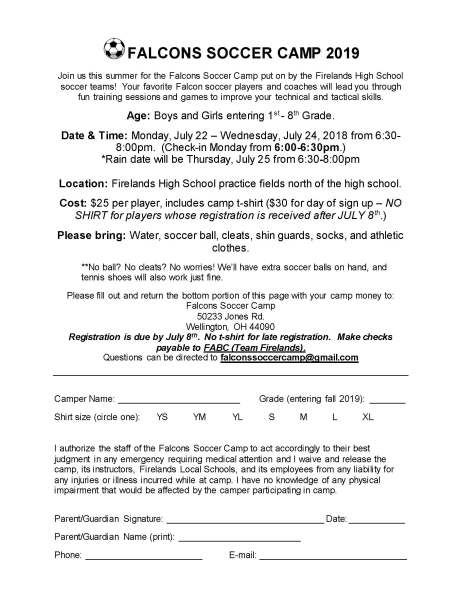 FHSGS Youth Camp Registration Form 2019