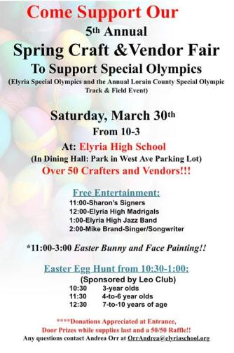 Spring Craft and Vendor Fair Flyer 2019 Special Olympics