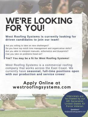 West Roofing Hiring 2019