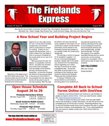 Firelands Express front page August 2019