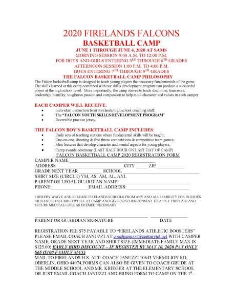 2020 Firelands Camp Brochure